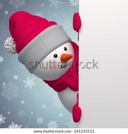 Christmas greeting banner, 3d snowman holding blank page - stock photo