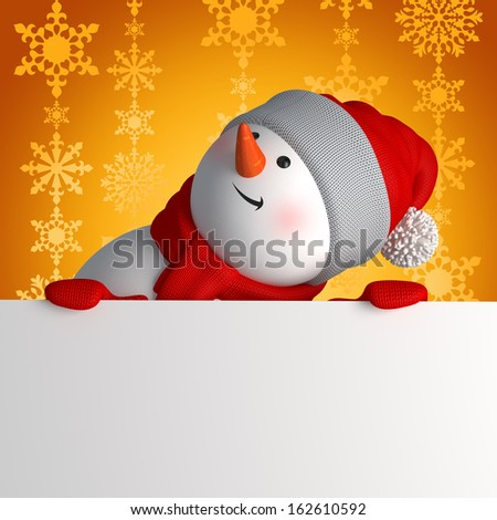 Christmas greeting banner, 3d snowman looking up and holding white page - stock photo