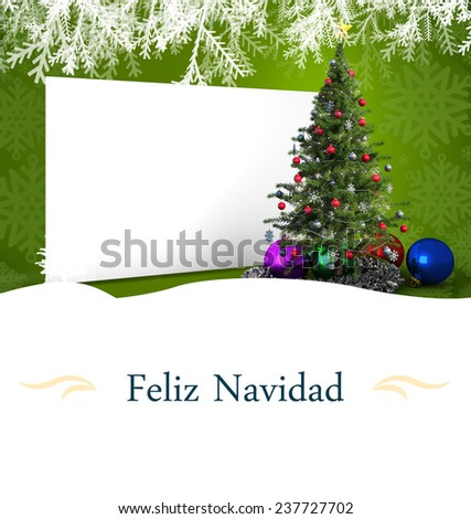 Christmas greeting card against poster with christmas tree - stock photo