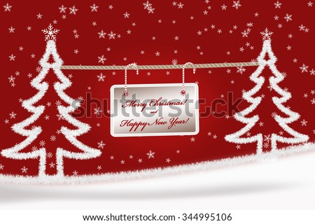 Christmas greeting card background with fir trees on red - stock photo