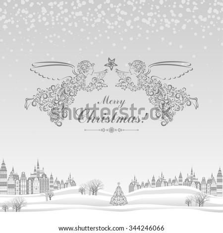Christmas greeting card. Celebration background with Angels, Christmas star, Christmas tree, Beautiful winter landscape and place for your text.  illustration - stock photo