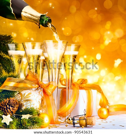 Christmas greeting card ( glasses of champagne, Christmas tree and gifts, New Year party ) - stock photo