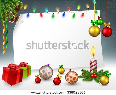 Christmas greeting card in snowy background - stock photo