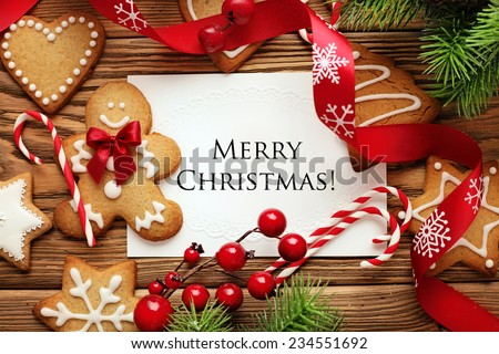 Christmas greeting card on the wooden background  - stock photo