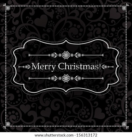 Christmas Greeting Card. Vintage black background.  illustration