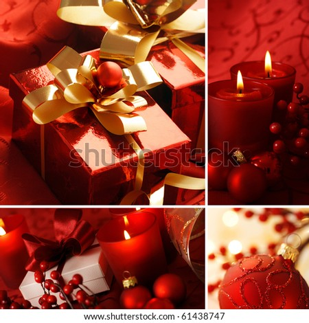 christmas greeting card with decorative red ornaments - stock photo