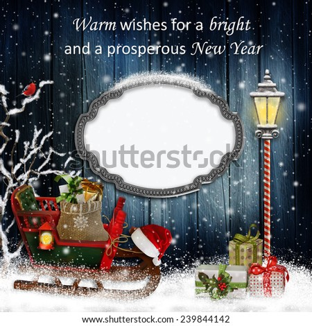 Christmas greeting card with frame   - stock photo