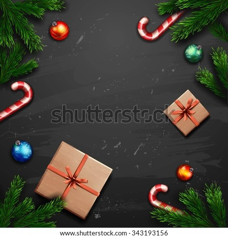 Christmas Greeting Card with gift box - stock photo