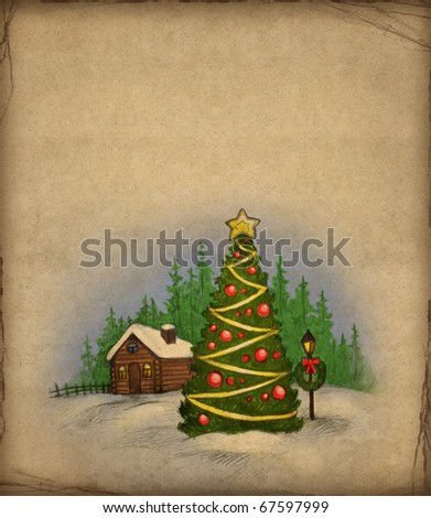 Christmas greeting card with illustration of winter landscape - stock photo