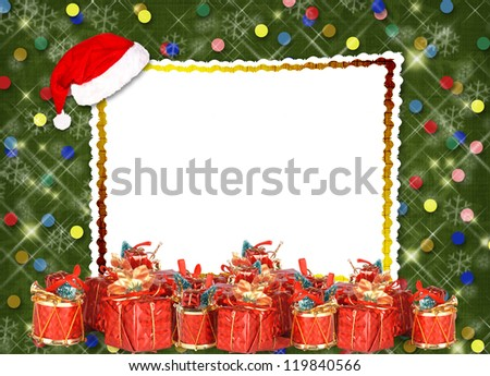 Christmas greeting card with presents on the  green abstract background