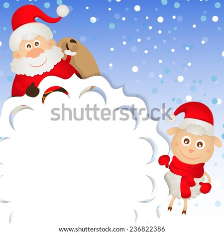 Christmas greeting card with Santa Claus and a sheep