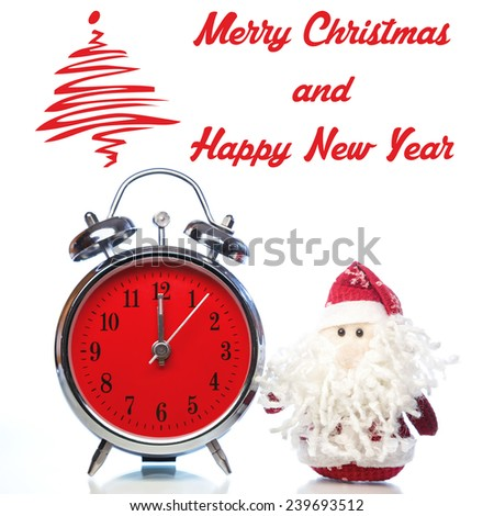 Christmas greeting card with Santa Claus or Father Frost and vintage alarm clock with red dial on white background with reflection. Showing time twelve midnight - stock photo