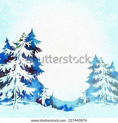 Christmas greeting card with snowy fir trees. Watercolor illustration on white background. Card with place for text. - stock photo