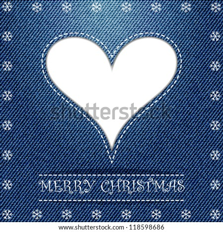 Christmas greeting card, with white heart on blue jeans texture, raster copy - stock photo