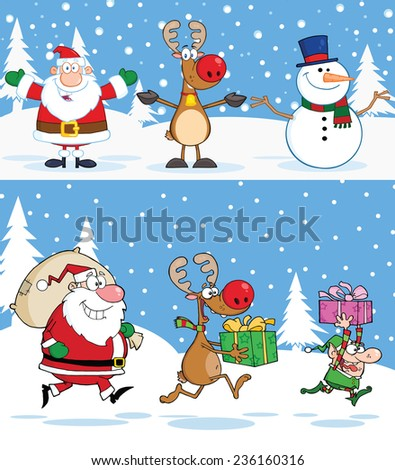 Christmas Greeting Cards. Raster Collection Set - stock photo
