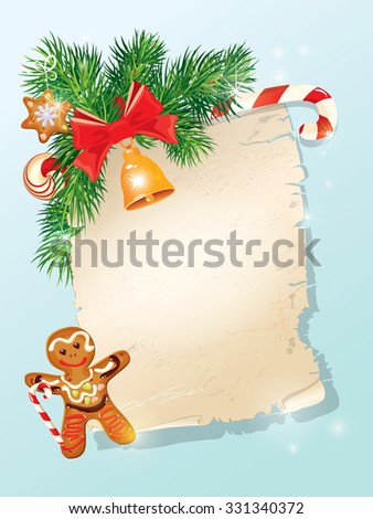Christmas greeting magic scroll from Santa Claus with golden bell, candy, bow, fir-tree branches and xmas man gingerbread on light blue winter holiday background. Raster version