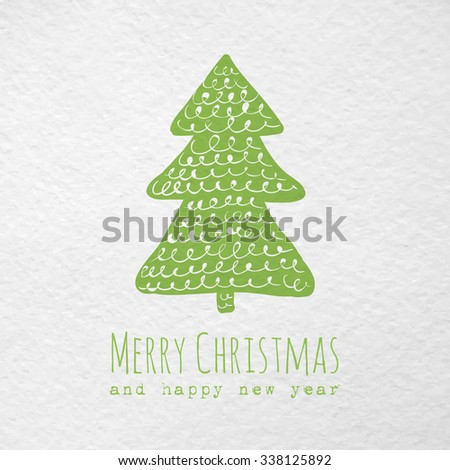 Christmas greeting paper card with hand drawn christmas tree. Raster version