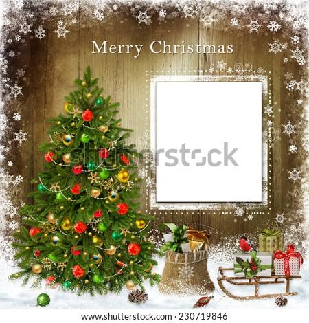 Christmas greetings card   - stock photo