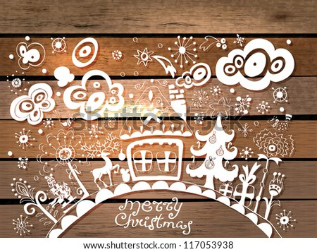 Christmas hand drawn background in origami style over wood