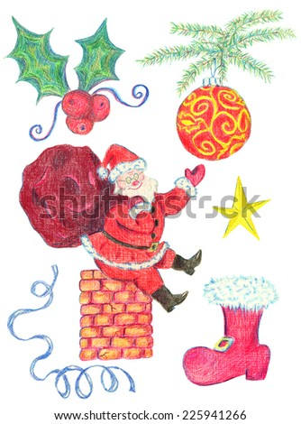 Christmas hand drawn set with traditional symbols and characters isolated on white 2 - stock photo