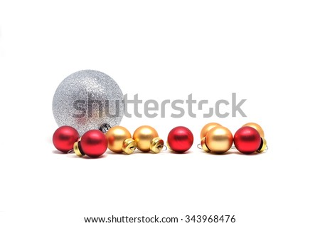 Christmas hanging decoration baubles isolated