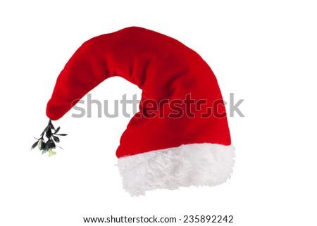 Christmas hat with mistletoe isolated on white background - stock photo