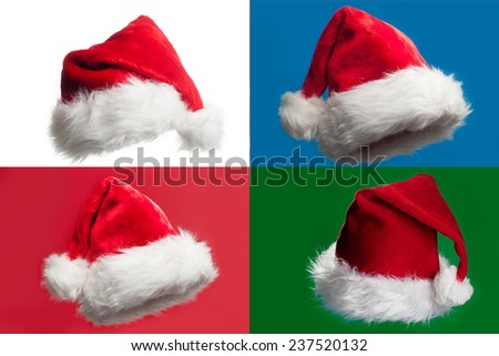 Christmas hats on for different background - stock photo