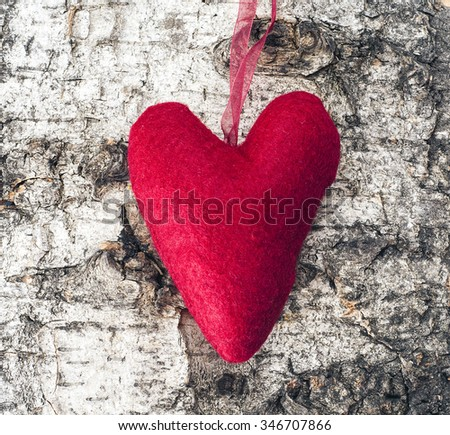 Christmas heart on a wooden background
