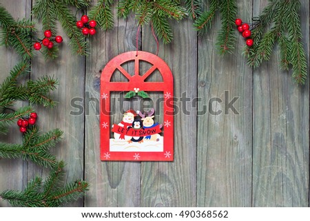 Christmas holiday  backgrounds. Christmas decorations on the wooden background