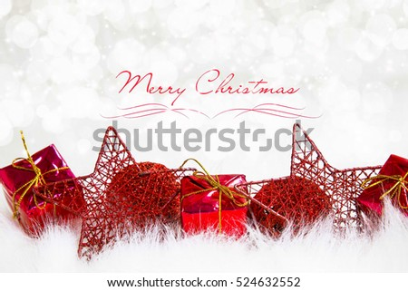 Christmas holiday card with ornaments and festive lights