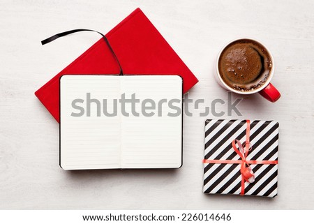 Christmas holiday celebration. View from above with copy space. Making a gift list. Valentines day. Birthday celebration - stock photo