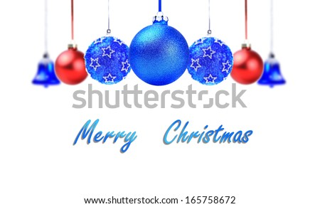 Christmas Holiday Colorful Balls with sample text on white