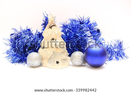 Christmas holiday decoration. Blue and white ornament bauble bac