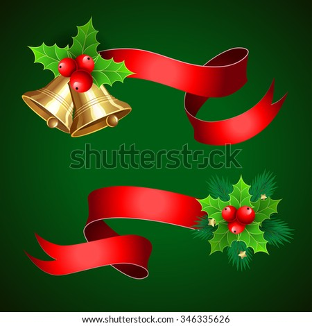 Christmas holiday decoration with red ribbons. Set with  bells branches and holly berry.  Illustration for Christmas posters, Christmas greeting cards, Christmas print and web projects. Raster version - stock photo