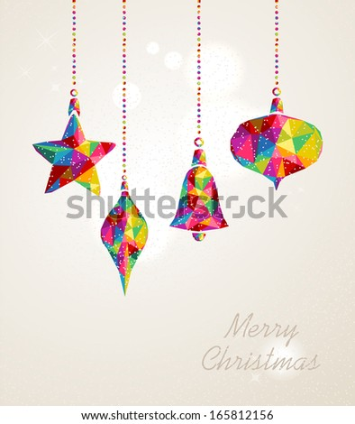 Christmas holiday hanging baubles multicolor triangles composition