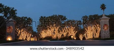 Christmas holiday lights at the Laguna Sawdust Arts Festival in Laguna Beach, California.  - stock photo
