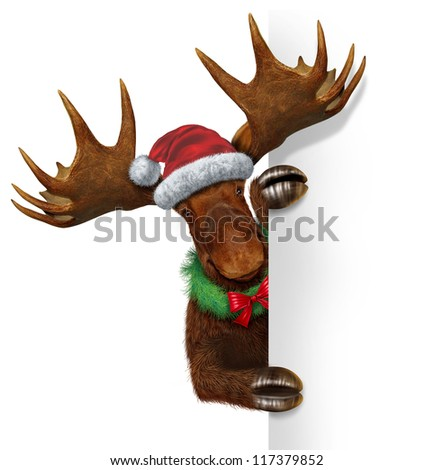 Christmas holiday moose with antlers holding a blank white sign wearing a santa clause hat and a wreath with a red bow with copy space winter season communication and advertising of the new year. - stock photo