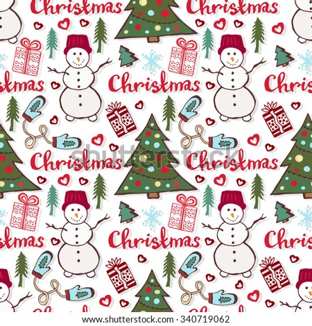 Christmas holiday pattern. Cute seamless pattern with snowman, new year tree and gifts - stock photo