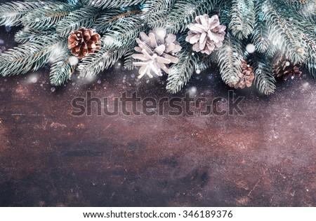 Christmas holidays background with snow. Lots of copy space - stock photo