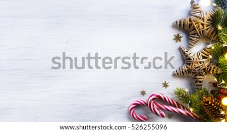 Christmas holidays composition on white wooden background with copy space for your text