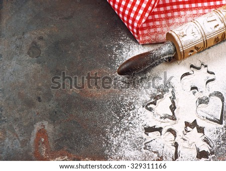 Christmas holidays concept. Festive baking background. Kitchen tolls - stock photo