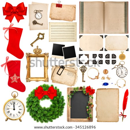 Christmas holidays scrapbooking elements. photo frame and corner, old book pages, paper sheets, ribbon, red stocking isolated on white background