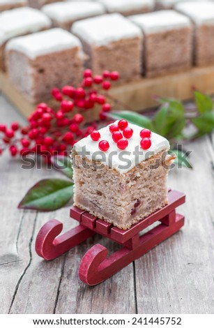 Christmas homemade cake with cranberries