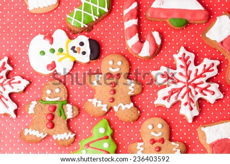 Christmas homemade gingerbread cookies, holiday concept - stock photo