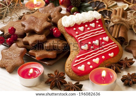 Christmas homemade gingerbread cookies,spice and decoration  - stock photo