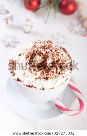Christmas hot chocolate drink with whipped cream - stock photo