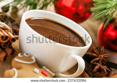 Christmas hot chocolate with gingerbread cinnamon and anise, close up - stock photo