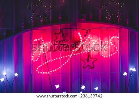 Christmas house decorations - stock photo