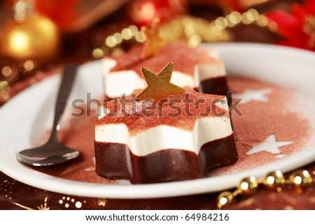 Christmas ice cream with chocolate and cinnamon - stock photo
