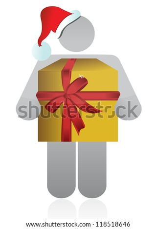 christmas icon holding a present illustration design over white - stock photo